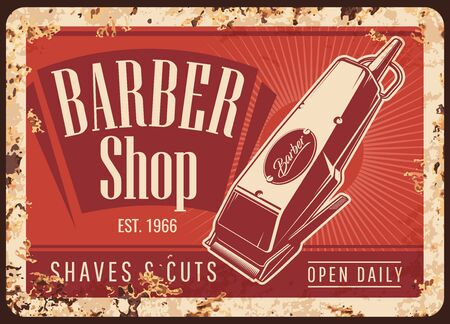 Barber shop hair cut trimmer vintage vector rusty metal plate. Gentleman and hipster haircut, beard and mustaches shaving barbershop salon, hair electric trimmer tool