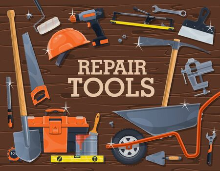 Repair tools of construction, carpentry and building industry. Vector DIY instruments and equipment, spanner, wrench, hard hat and toolbox, paint, brush, roller and spade, drill, trowel and spatula Illustration