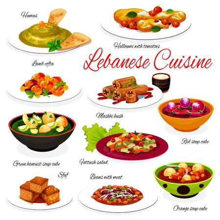 Lebanese cuisine vegetable and meat food dishes. Vector Arabic hummus, lamb meatball kofta, fattoush salad and lentil soups with veggies, bean beef stew, grilled cheese, stuffed zucchini and cake