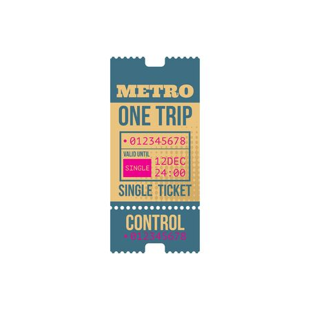 Metro one trip single ticket template with control sign. Vector subway entree, valid for 24 hours, date mention. Retro passenger pass to underground railway station isolated mockup, admit one