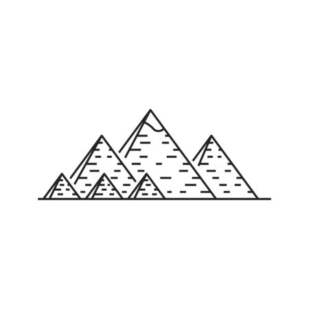 Egyptian pharaohs pyramids complex isolated outline vector icon. Ancient Egyptian monochrome symbol. historical famous touristic attractions in african desert, Giza plateau