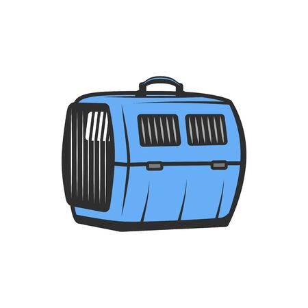 Plastic pet carrier isolated travel cage icon. Vector dogs and cats transportation case to airport and veterinary clinic, pets traveling bag. Blue animal carrier with handle, closed door