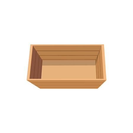 Wooden box top view vector isolated shipping crate. Vector empty rectangular package of timber planks, single timbered package mockup. Shipment and transportation cargo, empty pallet arboreal