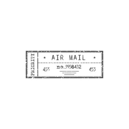 Priority airmail sign isolated monochrome stamp. Vector rectangular mark with date, air mail delivery service sign. Postmark on correspondence, documents or parcels, retro sign of post office