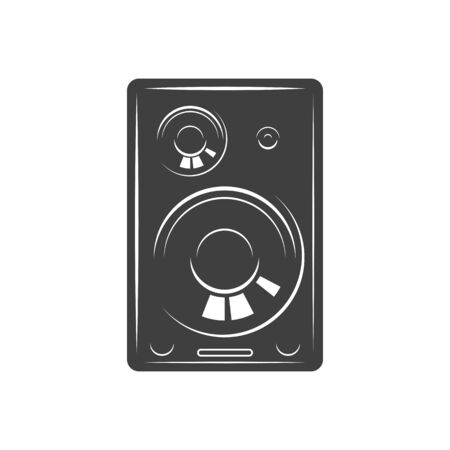 Portable speaker isolated music column monochrome icon. Vector stereo sound system, speakers in plastic or wooden case, black and white. Loudspeaker or loud-speaker electroacoustic transducer device