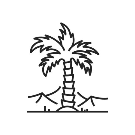 Palm tree in Giza near Egyptian pyramids isolated outline vector icon, ancient Egyptian famous place in Sahara desert monochrome symbol