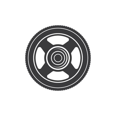 Brake disk isolated auto moto part monochrome icon. Vector repair service equipment, motorcycle, motorbike or car cylinder disc. Transport accessory, brake system spare part front view, metal pulley Çizim