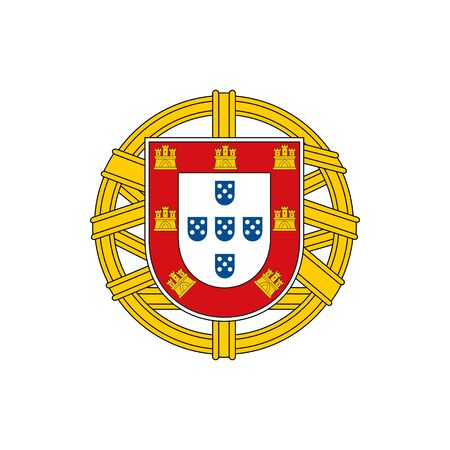 Portugal coat of arm isolated national flag emblem. Vector Portuguese shield, group of five, lesser coat of arms of Portugal. European country symbol, independence day and patriotic holidays sign