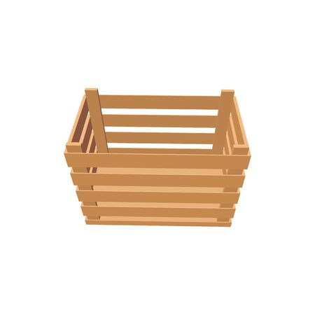 Crate of wood to store grocery food isolated empty box. Vector open container of planks, distribution, delivery and export, single box. Wood packaging of pallets, 3D timbered case top view