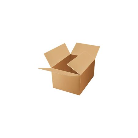 Transportation and moving package mockup isolated empty box, above view. Vector brown or beige paper box, warehouse parcel, shipment, delivery and distribution mailing container, cargo paper box