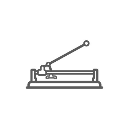 Manual tile cutter isolated outline icon. Vector monochrome device cutting ceramic tiles, linear tile-cutting machine. Tiler instrument with long handle, building, repairing home instrument