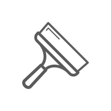 Couteau à mastic métallique isolé large spatule contour icône monochrome. Outil de réparation vectorielle, couteau à palette avec poignée. Large enseigne linéaire à couteau à palette, lame et manche, grattoir linéaire, truelle à cloison sèche