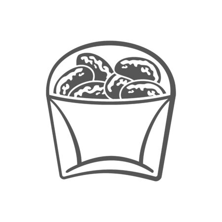 Nugget made from chicken meat isolated monochrome icon. Vector nuggets breaded or battered, deep-fried or baked. Fastfood snack, takeaway or takeout food in pack, black and white packaging