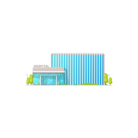Modern hospital medic building with front entrance and green trees isolated icon. Vector medical center facade, city infrastructure public place. Emergency office, treatment and healthcare concept