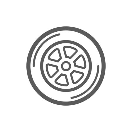 Car wheel isolated outline icon. Vector truck tire sign, motor sport racing symbol. Vehicle disk with rim, line art auto driving element. Automobile transport tyre wheel, machine radial circle