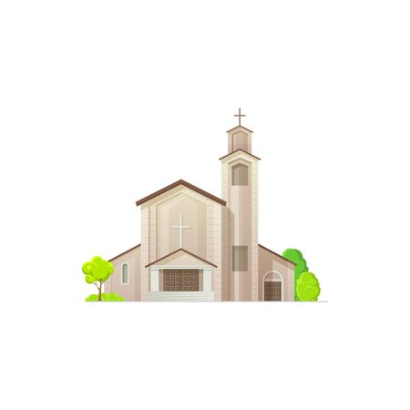 Catholic or evangelical church isolated religion architecture. Vector medieval cathedral, steeple tower to hold wedding and funeral ceremonies, facade exterior design, trees. Easter holiday church