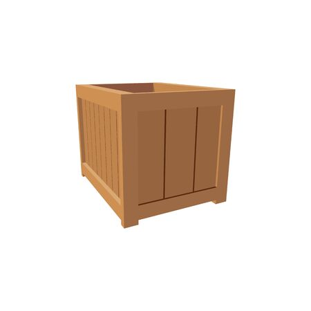 Distribution and shipping container isolated icon. Vector empty wooden box, transportation pack or crate, pallet package to transport fruits and vegetables, cube parcel on export, vintage crate