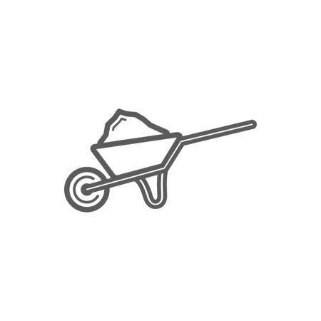 Wheelbarrow with sand isolated outline icon. Vector metal cart with soil, gardening equipment. Metal wheelbarrow to carry materials during construction, building of farming works, linear cart
