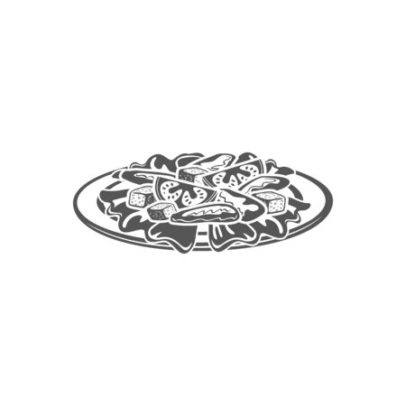 Caesar alad with cheese, vegetables and meat on plate isolated monochrome icon. Vector salad leaves, vegetarian dish. Food in flat bowl, european, asian or american cuisine dish black and white emblem