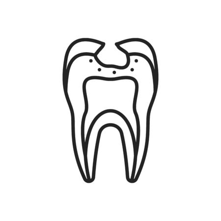 Tooth with broken enamel isolated chipped outline damaged premolar. Vector cracked molar with problem, dental clinic symbol, toothache and dentistry concept. Oral hygiene, healthy smile linear sign