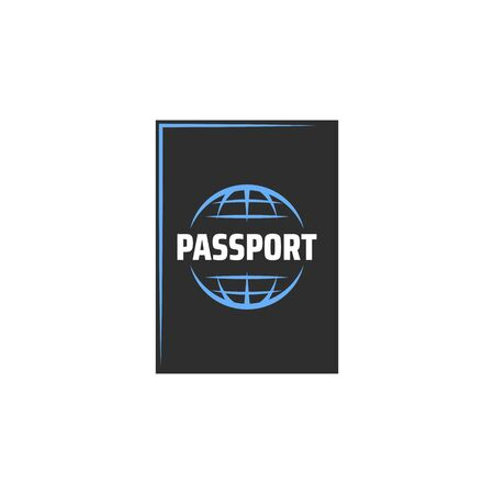 International passport isolated personal identity document. Vector id of citizen, biometric passport with chip. Identification and immigration documentation, border control pass with globe