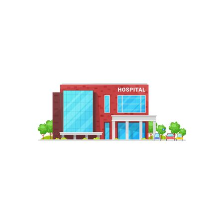 Hospital building in campus, parking zone with vehicles, green trees. Vector isolated medical center, city clinic, urban infrastructure. Treatment and urgent help, ambulance house, facade exterior Ilustração