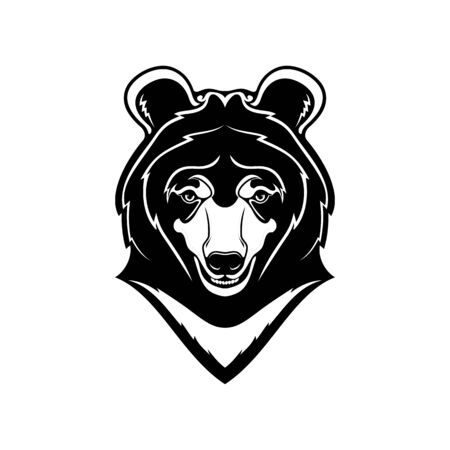 Himalayan bear animal head isolated asian wildlife animal. Vector cartoon asiatic bear mascot, wild predatory mammal with white chest, long snout and teeth. Endangered beast, mountain forest wildlife