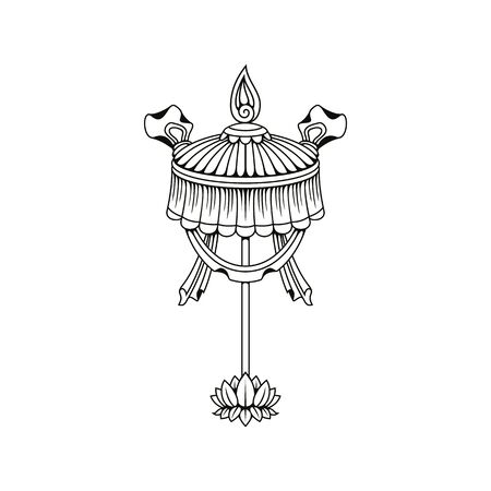 Chatra umbrella Buddhism religious symbol, isolated vector icon. Buddhist Hinduism Dharma religion, jewelled parasol Chatra monochrome sacred sign