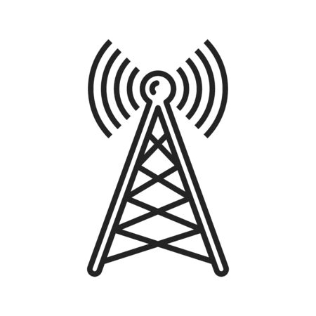 Radio tower or mast with broadcast transmission waves isolated outline icon. Vector antenna, transmitter monochrome linear sign. Telecommunication or telephone signal broadcasting, line art