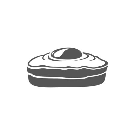 Sandwich with egg isolated monochrome icon. Vector fried poached egg on bread, toasted omelet sandwich in black and white. Tasty breakfast food with cooked yolk, scrambled eggs on bakery product Illustration