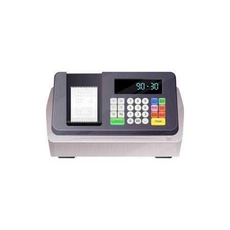 Boîtier de contrôle de paiement mobile, caisse avec clavier à boutons. Dispositif commercial vectoriel pour vérifier les transactions, les achats et les ventes. Appareil de caisse enregistreuse électronique avec affichage au design réaliste Vecteurs