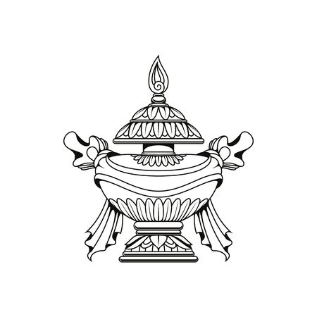 Bumpa vase isolated vector icon, monochrome Buddhism religious symbol, Buddhist worship, Hinduism Dharma religion ritual pumpa vase sign
