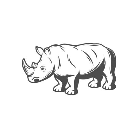 Rhinoceros with tusk isolated african safari rhino hand drawn icon. Vector african savanna nose-horned animal with horn, safari hunting club mascot. Rhinocerotidae, profile of rhino, endangered mammal Illusztráció