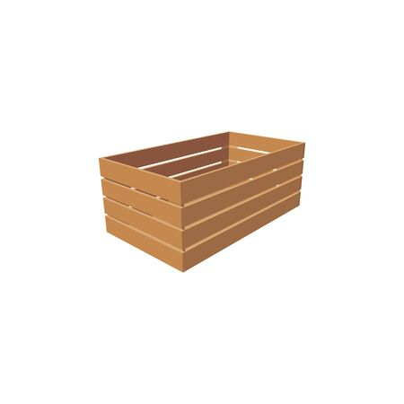 Side view of wooden crate, empty box used to shipping and distribution products isolated icon. Vector one timbered pack to store fruits and vegetables, open container of timber wood, delivery pack Illustration