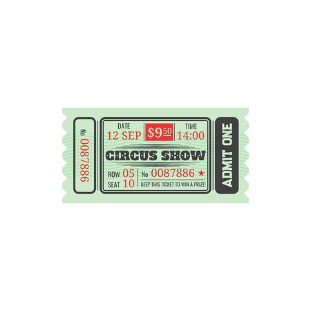 Circus show ticket, price 9. 50 dollars isolated retro amusement fair coupon template. Vector invitation on cabernet festival, big top circus show. Keep pass to win a prize, mention of row and seat