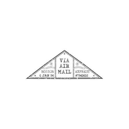 Boston per Luftpost Grunge-Dreieck-Zeichen isoliert Express-Post-Lieferungssymbol. Vektor USA Poststempel mit Zeit- und Datumsangabe, Avia Mail in Amerika. Grunge monochrome Briefmarkenmodell