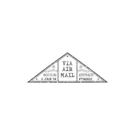 Boston via airmail grunge triangle sign isolated express post delivery symbol. Vector USA postal mark with time and date mention, avia mail in America. Grunge monochrome postage mark mockup Çizim