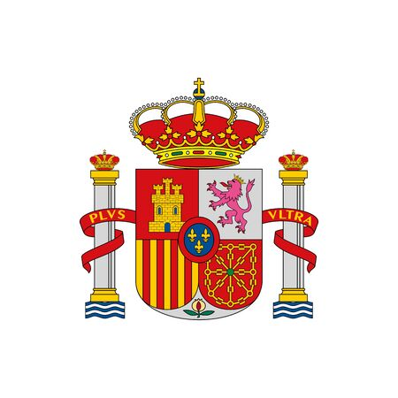 Spain coat of arm isolated national flag emblem. Vector Spanish shield, naval and coastal fortifications ensign. European country symbol, independence day and patriotic holidays sign