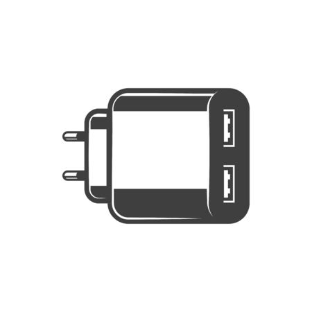USB adapter fork with ports to insert cable isolated monochrome icon. Vector black and white small AC charger to charge smartphone. Plastic connector to charge mobile devices, charging supply
