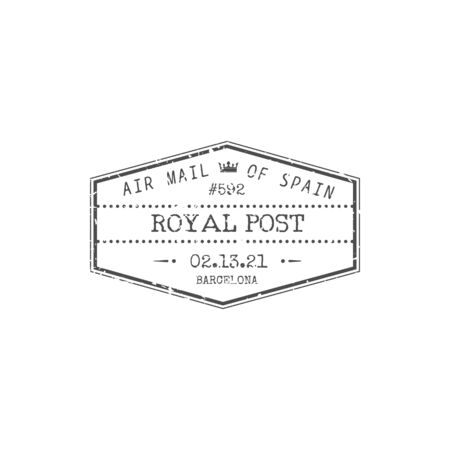 Air mail of Spain, royal post isolated Barcelona stamp. Vector airmail delivery grunge icon, spanish postmark. Postal correspondence transportation, rubber ink of parcels control, vintage seal Vettoriali