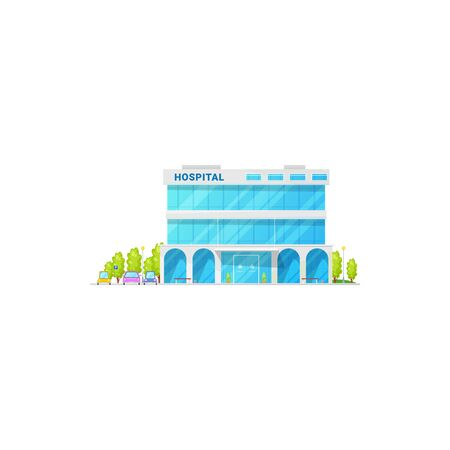 Modern hospital isolated facade of medical center with trees and parking zone. Vector city infrastructure, urgent clinic with healthcare accommodations, public place to get emergency help, urban lab Ilustração