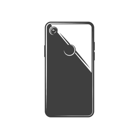 Smartphone backside view isolated personal phone with touchpad and digital back camera, monochrome icon. Vector handphone gadget, notepad mobile computer template. Cellphone communication device Illustration