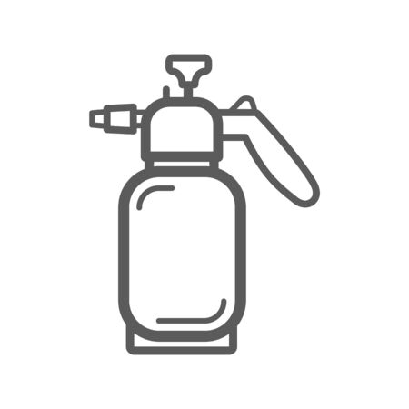 Manual gas burner isolated outline icon. Vector linear gas burner device producing controlled flame by mixing fuel natural gas or propane with ambient air supplied oxygen. Welding instrument Illustration