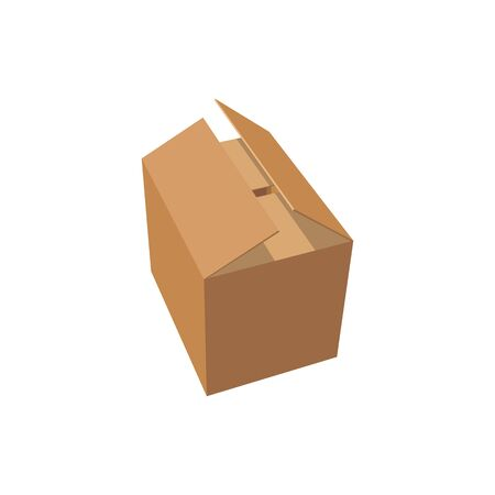 Half open cardboard box without labels isolated icon. Vector realistic package ready to receive or deliver, carton box able to be recycled. Realistic paper package, shipping, delivery and distribution