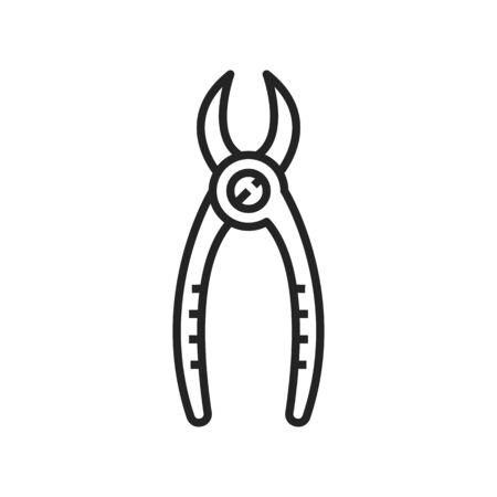 Forceps to extract tooth isolated dental pliers outline icon. Vector orthodontic equipment, dental wisdom teeth extraction surgical forceps. Anatomical dentistry instrument, linear medical supply Illustration