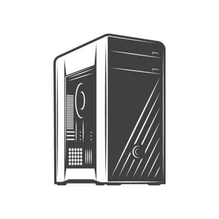 Black computer system unit isolated icon. Vector computer case, central processing item. Hardware cover, network server, wireless device of house automation process. PC tower, computing equipment