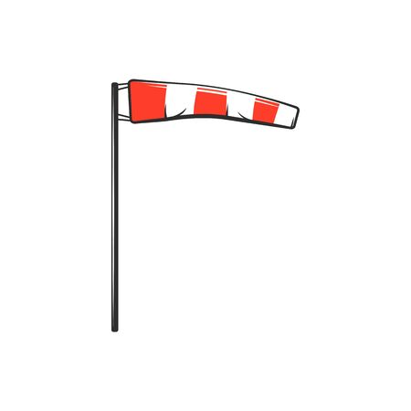 Airport windsock isolated striped waving red and white flag. Vector conical textile tube used as guide to wind direction and speed. Indicate strength of wind, meteorology object, weather control item