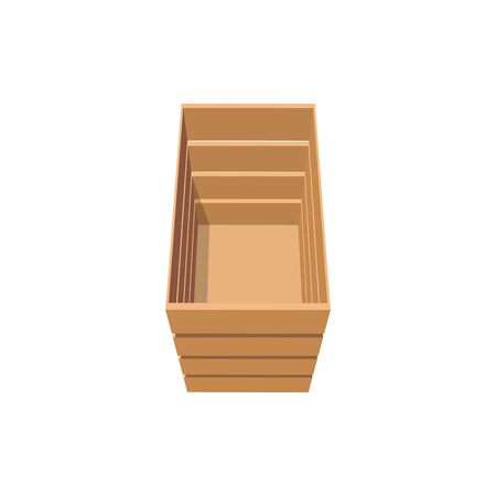 Crate to shipping and transportation fruits and vegetables isolated wooden box. Vector empty timber packaging top view, export and import rectangular pallet case, rustic package to deliver goods
