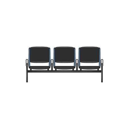 Three seats in airport in waiting area isolated icon. Vector number of public seats in hall of railway or bus station. Row of black chairs in waiting-room at airport terminal, seating place