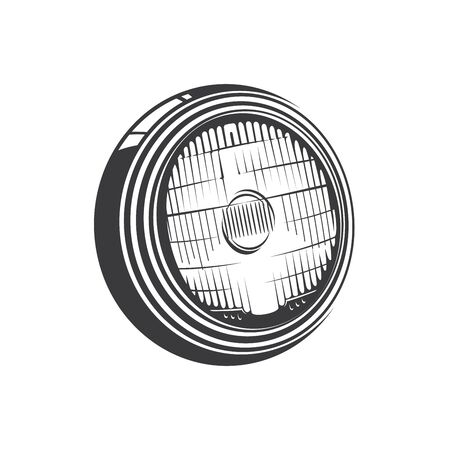 Headlight of car isolated monochrome icon. Vector automobile headlamp, lamp attached to front of vehicle to illuminate road ahead. Powerful light at front of or railroad engine, led lamp Illustration
